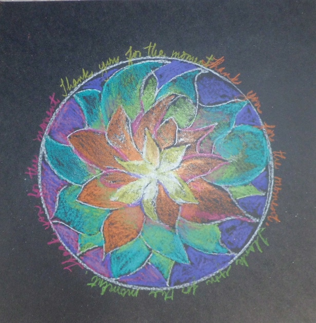 "Student Mandala Examples: ""Thank you for this moment."" CIMG3280By Bess Woodworth-May 2012"